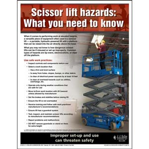 "Workplace Safety - Workplace Safety Advisor Poster - ""Scissors Lift Hazards: What You Need to Know"""