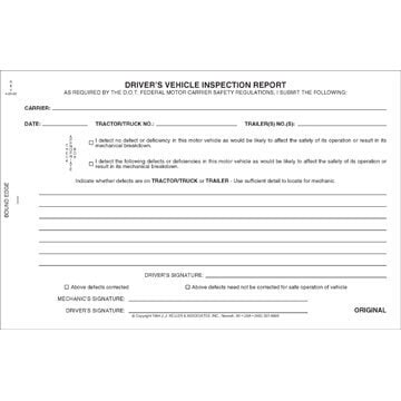 Simplified Driver's Vehicle Inspection Report, 2-Ply, Carbonless - Stock