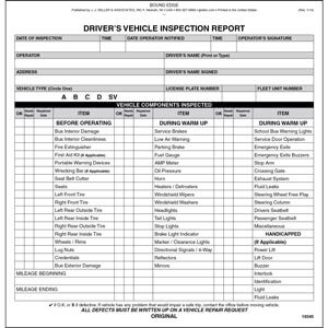 New Jersey Bus Driver Vehicle Inspection Report, Book Format - Stock