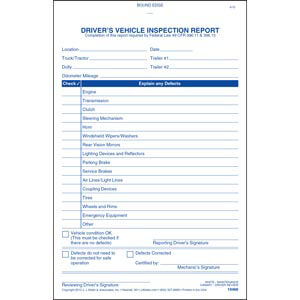 Simplified Driver's Vehicle Inspection Report - Vertical Format, 2-Ply, Carbonless, Book Format - Personalized