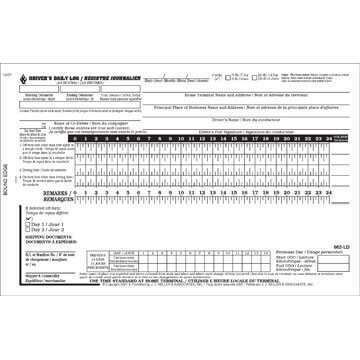 Canadian Driver's Daily Log Book, Bilingual, 2-Ply, w/Carbon, No Recap - Personalized