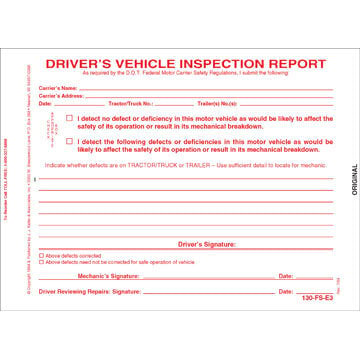 Simplified Driver's Vehicle Inspection Report, 3-Ply, w/Carbon, Snap-Out Format - Stock