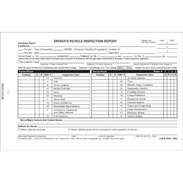 Canadian Driver's Vehicle Inspection Report, 2-Ply, Carbonless - Personalized
