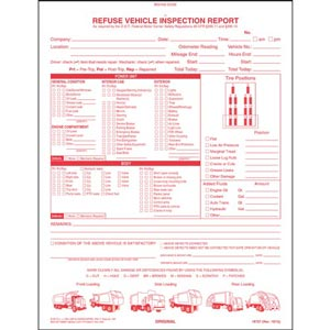 Refuse Truck Driver's Vehicle Inspection Report, Book Format - Personalized