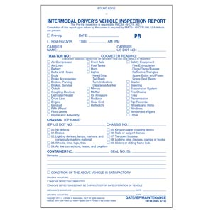 Intermodal Driver's Vehicle Inspection Report - Pre-Trip, Book Format - Personalized