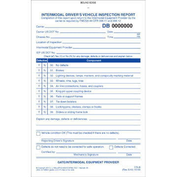 Intermodal Driver's Vehicle Inspection Report - Personalized