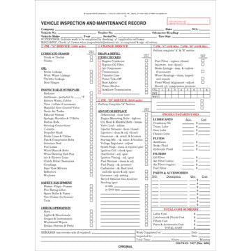 Vehicle Inspection and Maintenance Record - Detailed