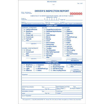 Detailed Driver's Vehicle Inspection Report, 2-Ply, Carbonless, w/Blue Ink - Stock