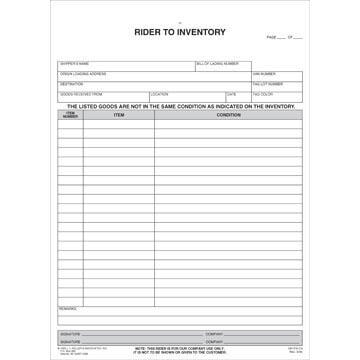 Household Goods Form - Rider to Inventory