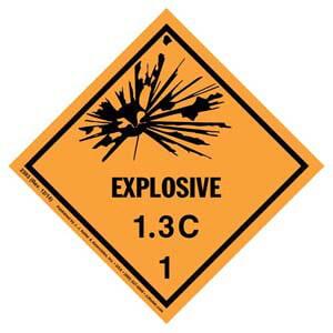 Explosives Label - Class 1, Division 1.3C - Paper