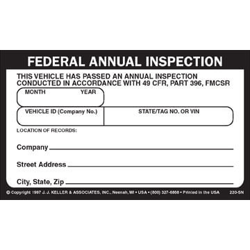 Record of Annual Inspection - Decal