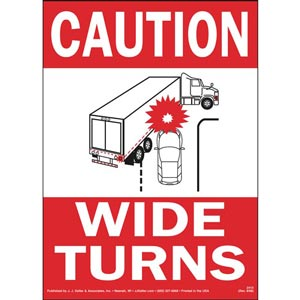Caution Wide Turns Sign with Icon - Reflective