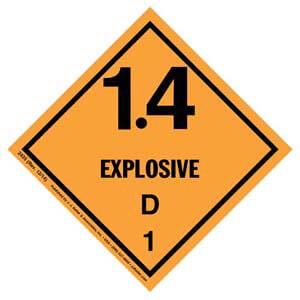Explosives Label - Class 1, Division 1.4D - Paper