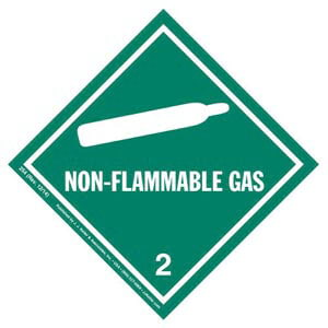 Hazardous Materials Labels - Class 2, Division 2.2 -- Non-Flammable Gas - Paper, Roll