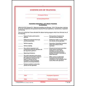 Powered Industrial Lift Truck Training Certificate - Classroom
