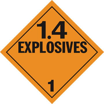 Division 1.4 Explosives Placard - Worded