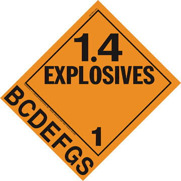 Division 1.4B-1.4S Explosives Placard - Worded
