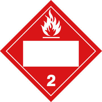 Division 2.1 Flammable Gas Placard - Blank
