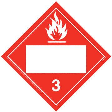 Class 3 Flammable Liquid Placard - Blank