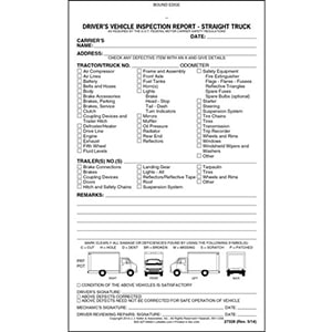 Detailed Driver's Vehicle Inspection Report - Straight Truck, Book Format - Stock