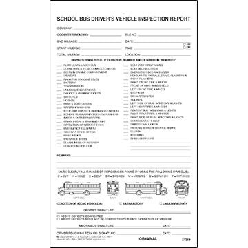 Detailed Driver's Vehicle Inspection Report - School Bus, Snap-Out Format - Stock