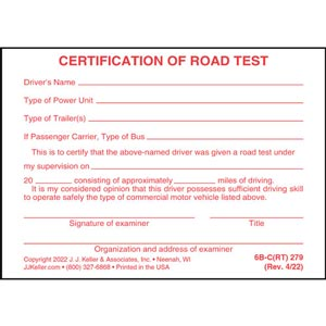 Road Test Form