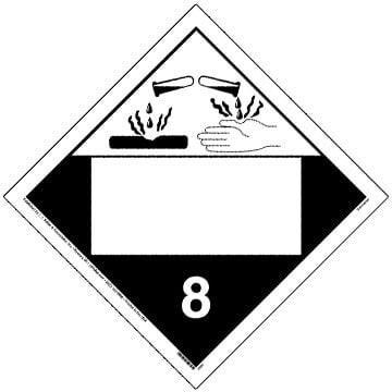 Class 8 Corrosive Placard - Blank