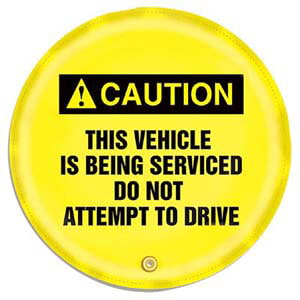 STOPOUT® Steering Wheel Message Cover - Caution This Vehicle is Being Serviced...