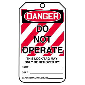 Lockout/Tagout Tag - Do Not Operate (Large Text)