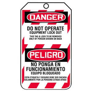Bilingual Lockout/Tagout Tag - Do Not Operate Equipment Lock Out