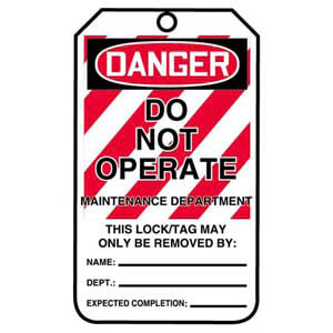 Lockout/Tagout Tag - Danger Do Not Operate Maintenance Department
