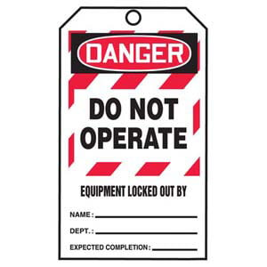STOPOUT® Tags By-The-Roll - Danger Do Not Operate Equipment Locked Out By...