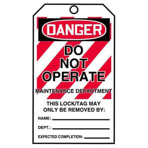 STOPOUT® Tags By-The-Roll - Danger Do Not Operate Maintenance Department