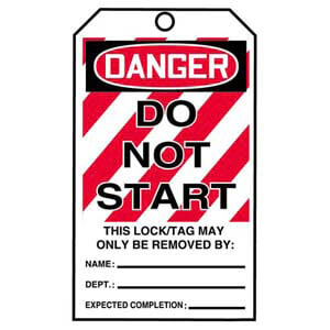 STOPOUT® Tags By-The-Roll - Danger Do Not Start