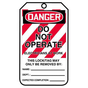 Lockout/Tagout Tag - Do Not Operate, Electricians At Work