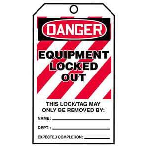 STOPOUT® Tags By-The-Roll - Danger Equipment Locked Out