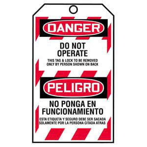 STOPOUT® Bilingual Tags By-The-Roll - Danger Do Not Operate