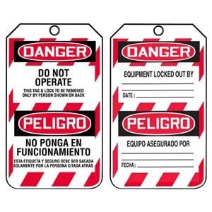 Bilingual Lockout/Tagout Tag - Danger Do Not Operate
