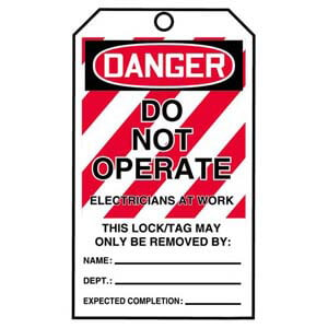 STOPOUT® Tags By-The-Roll - Danger Do Not Operate Electricians At Work