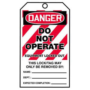 STOPOUT® Tags By-The-Roll - Danger Do Not Operate Equipment Locked Out
