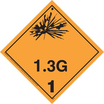 Division 1.3G Explosives Placard - Wordless