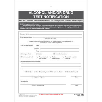 Alcohol and/or Drug Test Notification - Snap-Out Format
