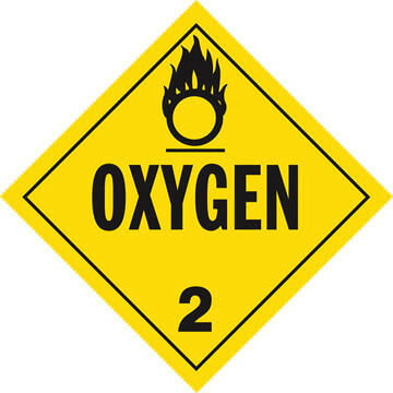 Division 2.2 Oxygen Placard - Worded