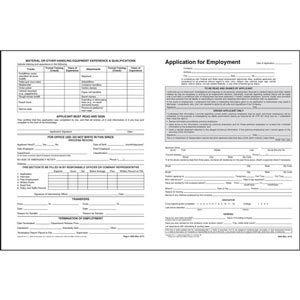 Driver'S Application For Employment - File Folder