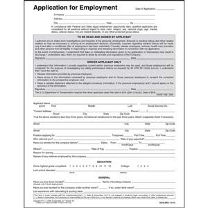 Driver's Application for Employment - Paper