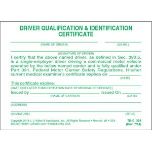 Driving Qualification & Identification Certification Cards