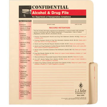 Confidential Alcohol and Controlled Substance File Packet - File Folder
