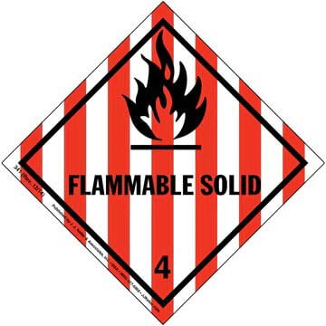 Hazardous Materials Labels - Class 4, Division 4.1 -- Flammable Solid - Paper, Roll