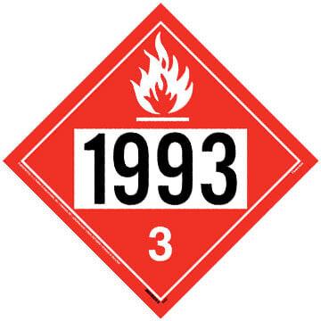 1993 Placard - Class 3 Flammable Liquid