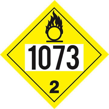 1073 Placard - Division 2.2 Oxygen